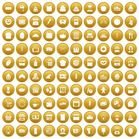 100 bakery icons set in gold circle isolated on white vector illustration