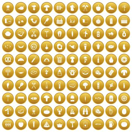 bbq barrel: 100 barbecue icons set in gold circle isolated on white vector illustration Illustration