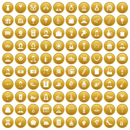 100 birthday icons set in gold circle isolated on white vector illustration