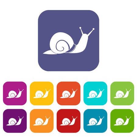 secretion: Snail icons set vector illustration in flat style in colors red, blue, green, and other Illustration