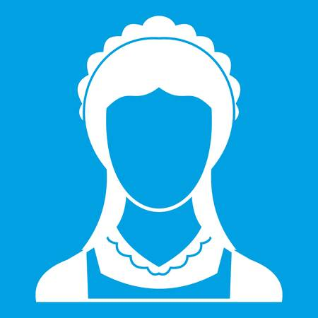 Cleaning household service maid icon white isolated on blue background vector illustration Illustration
