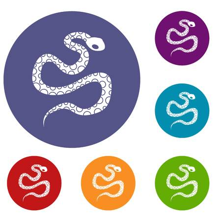 Python snake icons set in flat circle red, blue and green color for web