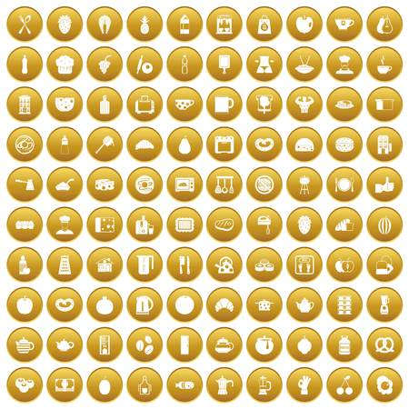 100 breakfast icons set in gold circle isolated on white vector illustration Illustration