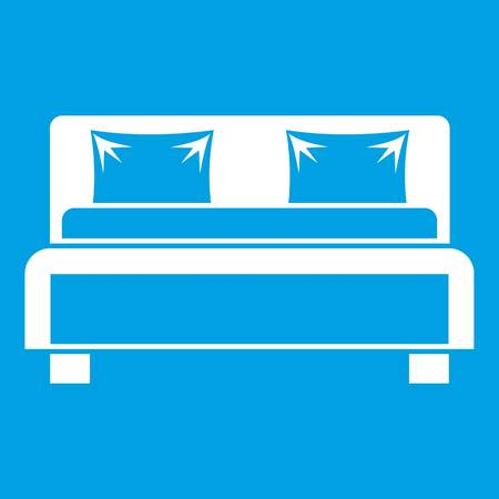 bedroom: Double bed icon white isolated on blue background vector illustration Illustration