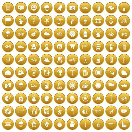 100 bicycle icons set in gold circle isolated on white vector illustration