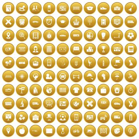 100 bus icons set in gold circle isolated on white vector illustration