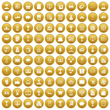 100 business icons set in gold circle isolated on white vector illustration Illustration