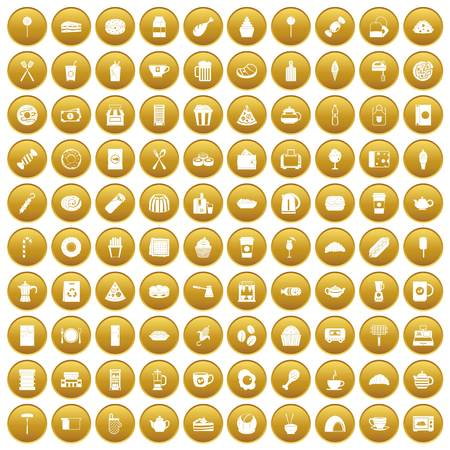 100 cafe icons set in gold circle isolated on white vector illustration