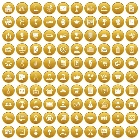 100 business career icons set in gold circle isolated on white vector illustration Illustration