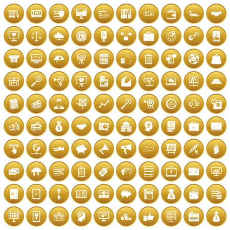 100 business process icons set in gold circle isolated on white vector illustration