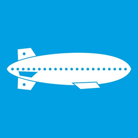 blimp: Dirigible balloon icon white isolated on blue background vector illustration