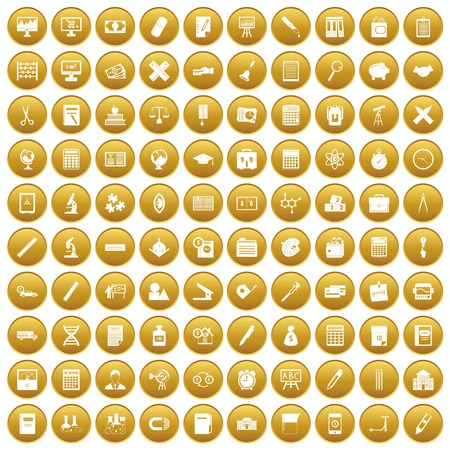 100 calculator icons set in gold circle isolated on white vector illustration Illustration
