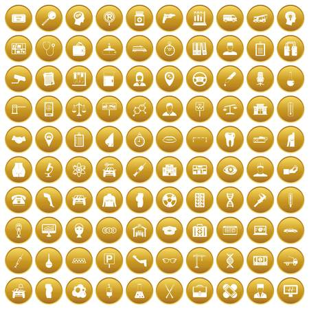 100 business day icons set in gold circle isolated on white vector illustration Illustration