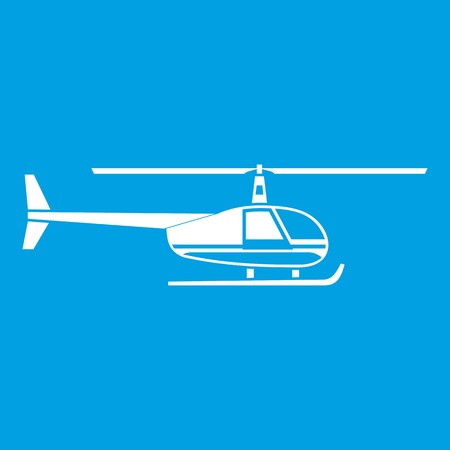 Helicopter icon white isolated on blue background vector illustration