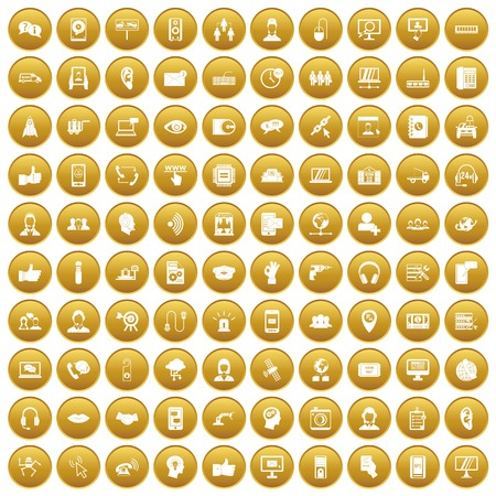 100 call center icons set in gold circle isolated on white vector illustration