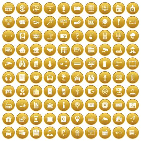 100 camera icons set in gold circle isolated on white vector illustration