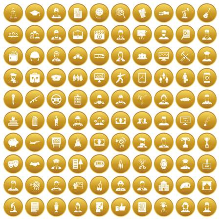100 career icons set in gold circle isolated on white vector illustration