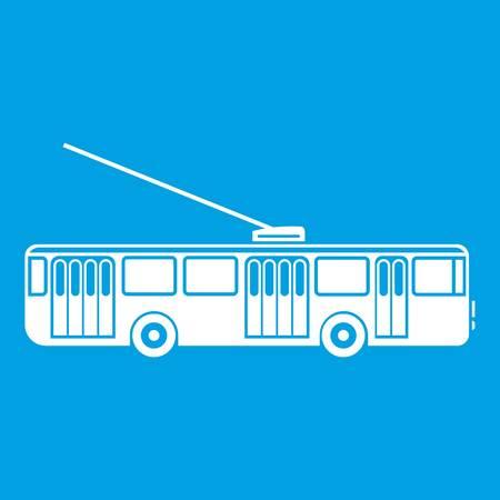 Trolleybus icon white isolated on blue background vector illustration