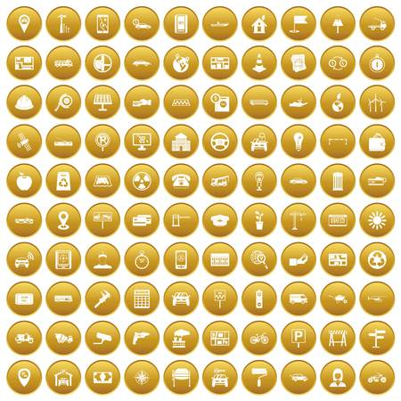 100 car icons set in gold circle isolated on white vector illustration Illustration