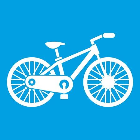 spoke: Bicycle icon white isolated on blue background vector illustration Illustration