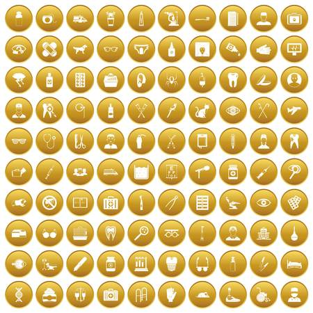 100 care icons set in gold circle isolated on white vector illustration Illustration