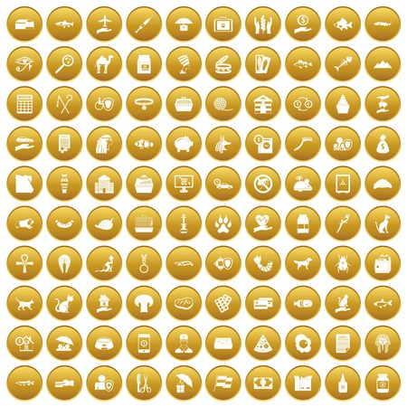 100 cat icons set in gold circle isolated on white vector illustration Illustration