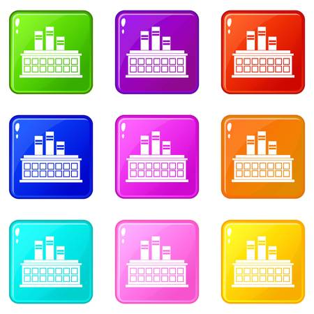 Oil refinery plant icons of 9 color set isolated vector illustration