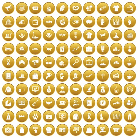 gift accident: 100 charity icons set in gold circle isolated on white vector illustration Illustration