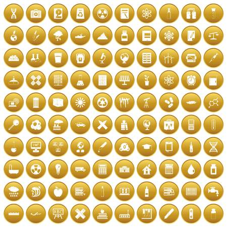 100 chemistry icons set in gold circle isolated on white vector illustration