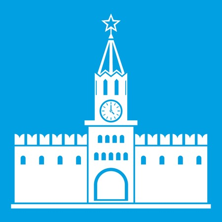 Russian kremlin icon white isolated on blue background vector illustration Illustration