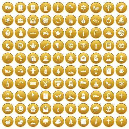 100 church icons set in gold circle isolated on white vector illustration
