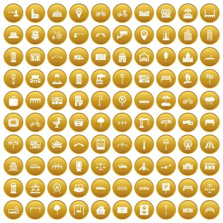 city lights: 100 city icons set in gold circle isolated on white vector illustration Illustration