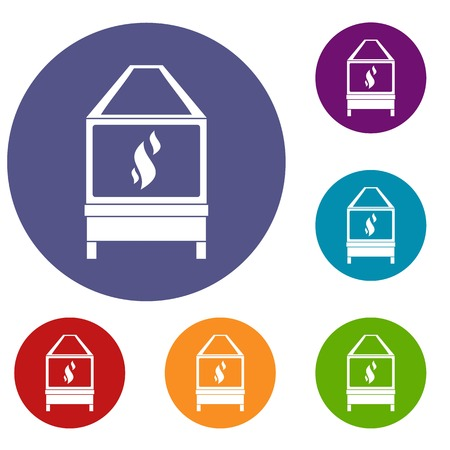 Blacksmith oven with flame fire icons set in flat circle red, blue and green color for web