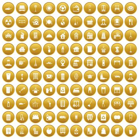100 cleaning icons set in gold circle isolated on white vector illustration