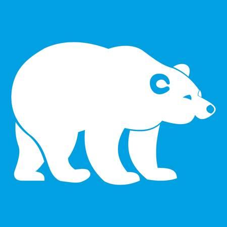 Bear icon white isolated on blue background vector illustration Illustration