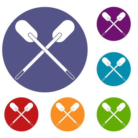 Two wooden crossed oars icons set in flat circle red, blue and green color for web