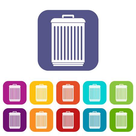junk: Trashcan icons set vector illustration in flat style in colors red, blue, green, and other