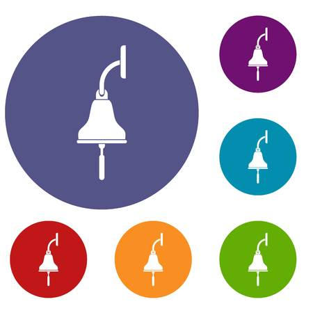 Ship bell icons set in flat circle red, blue and green color for web Illustration