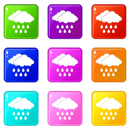 Cloud icons of 9 color set isolated vector illustration 向量圖像