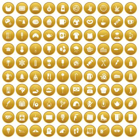 100 coffee icons set gold
