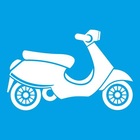 Motorbike  scooter icon white isolated on blue background vector illustration