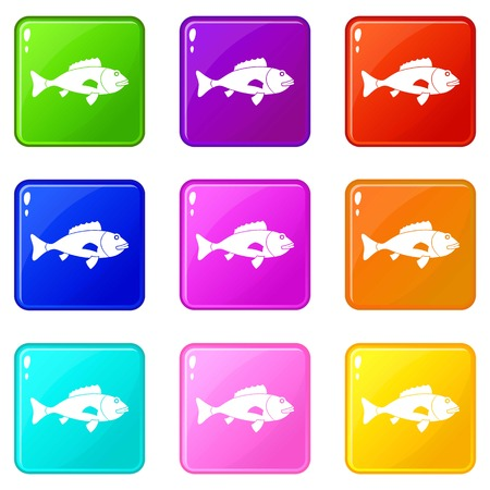 Fish icons of 9 color set isolated vector illustration Çizim