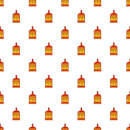 lamp light: Red and yellow Turkish lantern pattern seamless repeat in cartoon style vector illustration