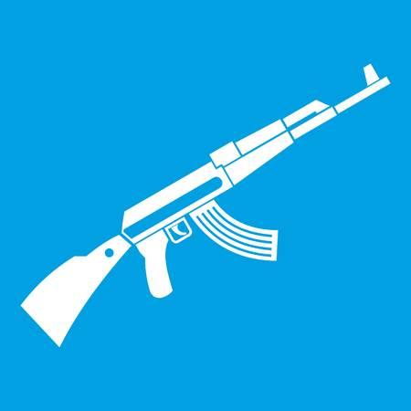 Kalashnikov machine icon white isolated on blue background vector illustration Illustration