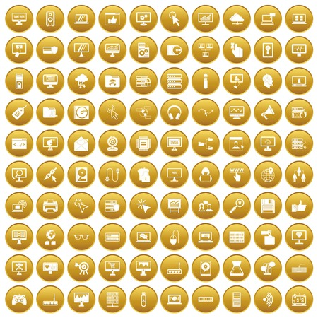 100 computer icons set in gold circle isolated on white vector illustration