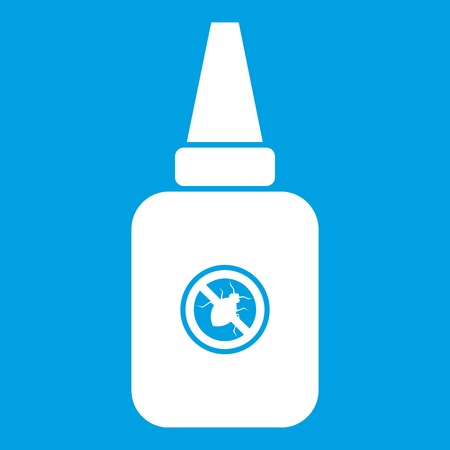 Insect spray icon white isolated on blue background vector illustration