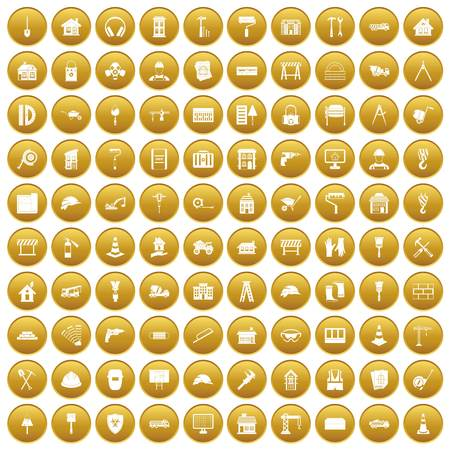 100 construction icons set in gold circle isolated on white vector illustration