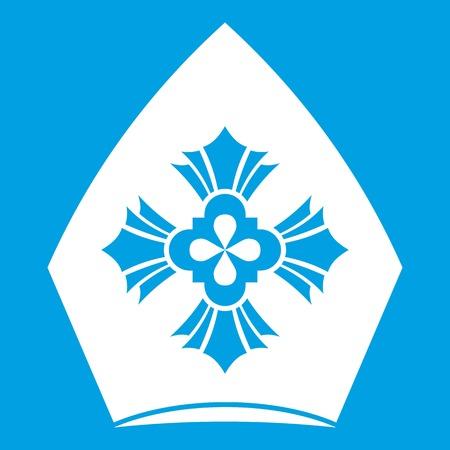 sacerdote: Icono de sombrero cristiano blanco aislado en la ilustración de vector de fondo azul Vectores