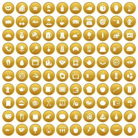 100 cooking icons set in gold circle isolated on white vector illustration Illustration