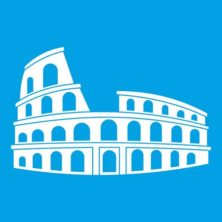 sight: Roman Colosseum icon white isolated on blue background vector illustration Illustration